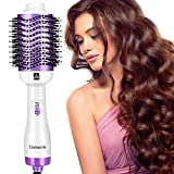 Damenie Fönbürste Haartrockner Warmluftbürste, 5 IN 1 Upgrade Heißluftbürste Stylingbürste, Fönbürste Elektrisch Rundbürste mit Fön Hairstyle Hair Dryer Heißluftkamm für Alle Styling(Weiß Lila)