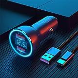 Dual QC3.0 USB Auto Ladegerät, Kfz Ladegerät, Zigarettenanzünder USB Ladegerät, [Ganzmetall] 6A...