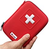 Kompletter Mini Erste Hilfe Set **35 einzigartige Gegenstände / 100 Stück** Bester Inhalt in rotem festen Kasten - Ideal für Verletzungen & Notfälle - Perfekt für Sport - Draußen - Reisen - Auto - Büro