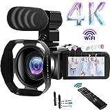 Camcorder 4K Videokamera 48MP 60FPS WiFi Camcorder 18X Digital Zoom mit IR Night Version Vlogging...