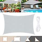 Wokkol Sonnensegel, Sonnenschutz Sonnensegel Wasserdicht, Sonnenschutz Balkon Hergestellt aus Hochwertigem Polyester mit UV Schutz, 160 g/m2 für Garten/Balkon/Terrasse (Grau, 3M*5M)