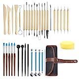 GuKKK Modellier-Werkzeug Sculpting Werkzeug, 35 Stücke Polymer Clay Werkzeuge, Komplett Pottery Werkzeug-Set, Ball Stylus Dotting Tools, für Kunsthandwerk, Skulptur, Anfänger (36)