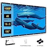 TOWOND Beamer Leinwand 150 Zoll Projektionswand, 16:9 HD 4K Beamerleinwand Faltbare und tragbare Anti-Falten Video Unterstützung Doppelseitigen Projektion für Heimkino und Freiluftkino mit 16 Haken