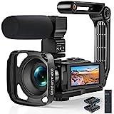Videokamera 2.7K Camcorder mit Mikrofon,Full HD 36MP Vlogging Kamera für YouTube mit IR Nachtsicht,16X Digital Zoom 3,0 Zoll LCD Touchscreen, Gegenlichtblende, Handstabilisator, Fernbedienung