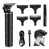 Elektrischer Haarschneider RIRGI 0mm T-Blade Trimmer USB-Wiederaufladbar Profi Haarschneidemaschine für Männer, Haartrimmer mit 3 Führungskämmen, Bürste und USB-Ladekabel