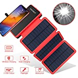 POWOBEST 20000mAh Solar Powerbank, Wireless Tragbare Ladegerät mit 3 Solarpanels, Outdoor...