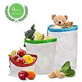 Taope Wiederverwendbare Aufbewahrungstasche, durchsichtig, 9 Packungen, waschbar, hochwertig, leicht, Netzbeutel für Lebensmitteleinkauf, Obst, Gemüse und Spielzeug