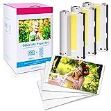 Fotodrucker papier mit 3 Farbkartusche, Kompatibel Canon Selphy CP1300 CP1200 CP910, Druckerkartusche und Papier ersatz für Canon KP-108IN 3115B001(AA), Fotopapier 100 x 148mm für Selphy CP Serie