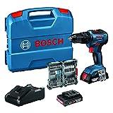 Bosch Professional 18V System Akku Schlagbohrschrauber GSB 18V-55 (max. Drehmoment 55 Nm, inkl. 2x2,0 Ah Akku + Ladegerät, 35tlg. Impact Zubehör Set, in L-Case) - Amazon Exclusive