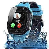 Smooce Kinder Smartwatch Telefon, wasserdichte Smartwatch für Kinder mit LBS Tracker SOS Voice Chat und Kameraspiel für 3-12 Jahre alte Kinder Geburtstag (Blue)