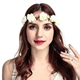 Dorical Stirnband Blumen, 1 Stück Stirnbänder Krone Haarband Kopfband Blume Haarbänder mit Elastischem Band für Hochzeit und Party Haarbänder Band für Frauen Mädchen Mehrfarbig (One Size, Z001-Weiß)