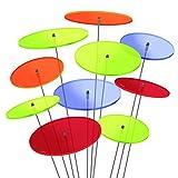 SUNPLAY 'Sonnenfänger-Scheiben im FARBMIX, 10 Stück im Set, 5 Stück à 7 cm und 5 Stück à 10 cm Durchmesser + 35 cm Schwingstäbe