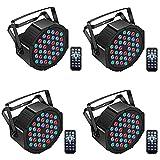 UKing 36 LED Bühnenlicht Par RGB DMX512 mit Fernbedienung,LED Par Scheinwerfer Beleuchtung Lichteffekt für Stage DJ Party Show Bar(4 Pack)