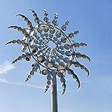 95cm Einzigartige Metall Windmühle,Windspinner Spinner Skulpturen Windfänger 3D Kreative Sonnen Windspiele Magische Bewegen Sie Sich mit Dem Wind für Hof Patio Garten Terrassen Rasen Dekoration