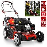 HECHT 5-IN-1 Benzin Rasenmäher – leistungsstarker 4 Takt Eco Motor 4,4 kW (6,0 PS) – Seilzug Starter – mit 53 cm Schnittbreite – 75 l Fangkorb – Radantrieb – patentierte Räder – EasyClean – Mulchmäher