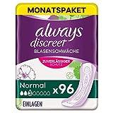 Always Discreet Inkontinenzeinlagen Normal (96 Binden) Monatspaket, diskreter Schutz & hohe Saugstärke, geruchsneutralisierend, 4 x 24 Stück (Verpackung kann variieren)