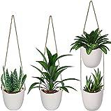 EIVOTOR 4 Stück Wandvasen Keramik Wandbehang Pflanzer mit Juteseil, Weißer Hängetopf für Sukkulenten, Kakteen, Drinnen, Balkon, Garten