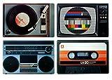 Retro Platzset / Tischset / Untersetzer - Set (Hifi-Geräte) im 80er Jahre von Out of the blue