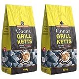 Holzkohlewerk Lüneburg Cocos Grillketts Premium Grillbriketts aus Kokos-Kohle - 20kg - extra Lange Brenndauer - ideal für Dutch Oven, Smoker Grillbriketts Testsieger
