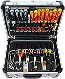FAMEX 700-L Alu Werkzeugkoffer mit 2 Paletten mit 56 Einstecktaschen, Facheinteilung im Kofferboden - leer, ohne Werkzeug -