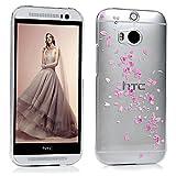 Lanveni HTC One M8 Hülle PC Hartes Case Hardcase Transparant Durchsichtig Handyschale Schutzhülle Handycover Tasche Etui-Muster: Blume