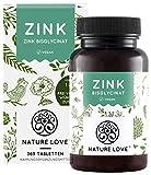 NATURE LOVE Zink - 25mg - 365 Tabletten (1 Jahr) - Hochdosiertes Zink-Bisglycinat (Zink Chelat) von Albion - Hoch bioverfügbar und vegan - Laborgeprüft und hergestellt in Deutschland