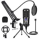 USB Mikrofon für PC Gaming Mikrofon mit Arm, 192 kHz/24 Bit Podcast Mikrofon PS4 Microphone...