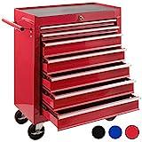 Arebos Werkstattwagen 7 Fächer/zentral abschließbar/Anti-Rutschbeschichtung/Räder mit Feststellbremse/Massives Metall/rot, blau oder schwarz (Rot)