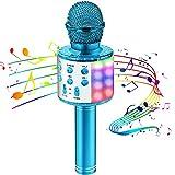 Mikrofon für Kinder, Kindermikrofon zum Singen mit LED-Lichtern, drahtloses Bluetooth karaoke...