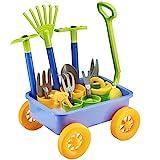 deAO Nachzieh Kinder Wagon Schubkarre und Gartengeräte Spielset 10 Zubehör und 4 Blumentöpfe enthält
