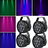 Bühnenscheinwerfer HaroldDol 4tlg 15W RGB 12 LED Par Licht DMX512 Bühnenlicht Stagelampe Strahler Lampe Bühnenbeleuchtung Effektlicht Beleucht Lichteffekt für Club Party Karneval Disco