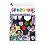 Snazaroo Schminkfarben Ultimatives Party Set, Schminkpalette mit 2 Pinsel, 4 Schwämmchen & Anleitung in englisch, 2 Glittergel, 12 Farben