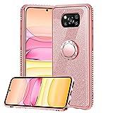 Hülle für Xiaomi Poco X3 NFC / X3 Pro, Glitzer Bling Glänzend Strass Diamant Handyhülle mit 360 Grad Ring Ständer Ultradünn Stoßfest TPU Silikon Tasche Schutzhülle - Rosé Gold