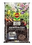 COMPO BIO Universal-Erde für Zimmerpflanzen, Gemüse, Obst und Kräuter, Torffrei, Kultursubstrat, 7,5 Liter, Braun