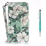 Grandoin LG G7 Hülle, Handyhülle für LG G7 Handytasche PU Leder Flip Cover Bunte Muster mit Etui Case (Aquarell Blume)
