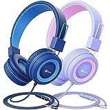 iClever 2 Pack Kinder Kopfhörer, Kabelgebundene Kopfhörer für Kinder mit MIC, 85/94 dB...