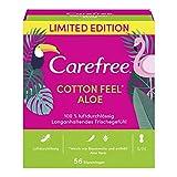 Carefree Slipeinlagen Cotton Feel Aloe mit Aloe Vera, Luftdurchlässig, 56 Stück, Größe: S/M