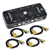 4 Port USB KVM Switch Box VGA + 4Stk Kabel für PC Monitor / Tastatur / Maus-Steuerung