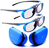 2X Hi-Shock Blue Heaven DLP-LINK 3D Brille für DLP 3D Beamer/Projektor. Kompatibel mit Optoma, LG, Viewsonic, Vivitec, Acer, BenQ 96-144 Hz