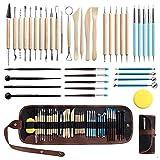 WOMGF Töpferwerkzeug Set Modellier-Werkzeug 41 Stücke Polymer Clay Sculpting Werkzeug Keramik Skulptur Ton Kit für Kunsthandwerk, Skulptur, Schnitzen Kunstbedarf