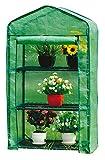 Gewächshaus Klein 128x69x49cm   für optimales Pflanzenwachstum   Mini Gewächshaus mit 3 Etagen   inkl. Gewächshaus folie   Grün Gewächshaus Balkon   Foliengewächshaus Winterfest  