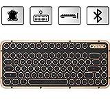 Azio Compact Retro-Tastatur Artisan, mechanische Schreibmaschinen-Tastatur inkl. Handballenauflage, mobile Steampunk-Tastatur mit Bluetooth, kabellos, beleuchtete Tasten, Vintage Look
