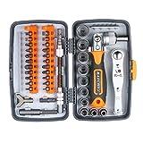 Festnight Präzisions-Ratschen-Schraubendreher-Bit-Set Magnetschraubenzieher-Kit Elektronik-Reparatur-Tool-Kit mit flexibler Wellenverlängerungsstange für Telefon-Laptop-Uhr und andere elektronische
