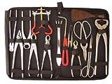 Bonsaiwerkzeugset XXL, platiniert, 15tlg., mit praktischer Werkzeugtasche
