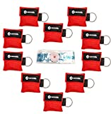 Beatmungsmaske Schlüsselanhänger 10 Stück (rot) - CPR Maske Face Shield - Erste Hilfe Beatmungsmasken für Erwachsene und Kinder - Perfekter Schutz für den Notfall!
