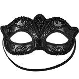 dressforfun 900881 Venezianische Maske für Damen, Augenmaske mit Muster und Zierborte für Maskenball Party Fasching Karneval Halloween - Diverse Farben - (schwarz | Nr. 303529)