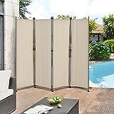 pro.tec Outdoor Trennwand - 170 x 215cm - Paravent Sichtschutz Spanische Wand Garten Sandfarben