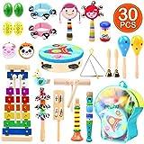 Ohuhu 30 Stück Musikinstrumente Musical Instruments Set, Spielzeug von Holz Percussion Schlagzeug Schlagwerk Rhythmus Band Werkzeuge für Kinder und Baby