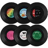 homEdge Vinyl-Schallplatten-Untersetzer, 6 Stück im Retro-Stil