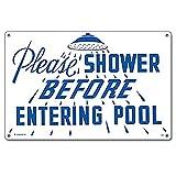 Poolmaster 41384 Rules for Public Spa Schild für kommerzielle Pools, Oregon-konform Bitte duschen (Please Shower) 18' x 12' neutral